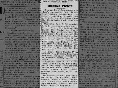 Picnic in Pittston The Pittston Gazette 12 Aug 1907