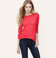 Petite Textural Stripe Sweater - Lined with scalloped stripes for pretty texture, this soft cotton style is femme fresh. Boatneck. Long sleeves.