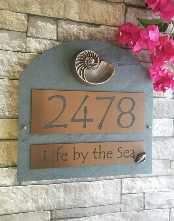 tropical palms cast address plaque house numbers | beach cottages