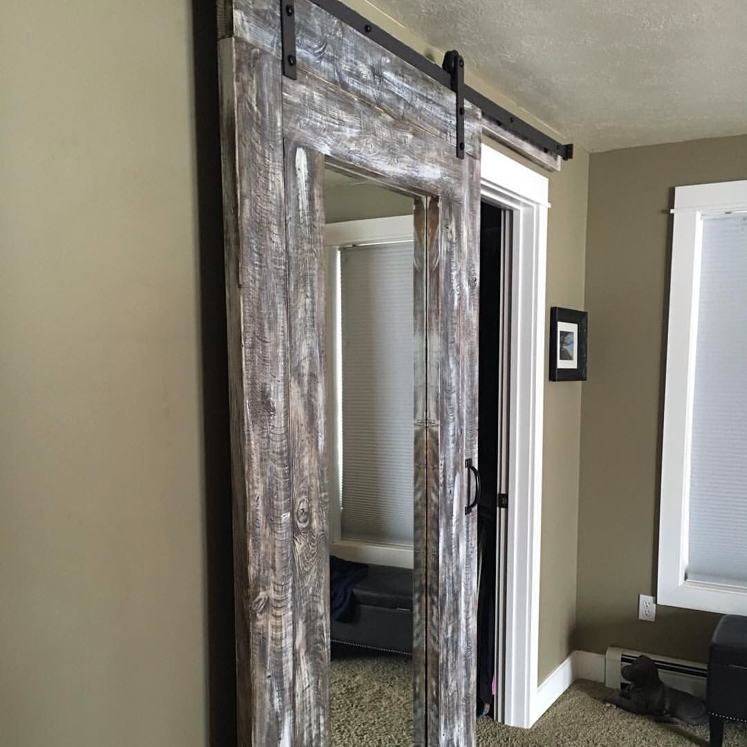 I Made This Beautiful Diy Beachy Farmhouse Barn Door With Full Length Mirror From My Own Plan And Homemade Stain Mirror Barn Door Rustic Barn Door Barn Door