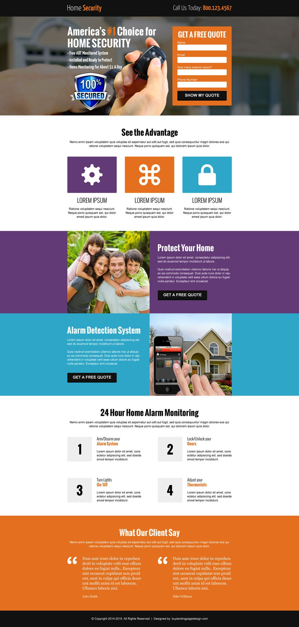 Home Security Free Quote Lead Capture Landing Page
