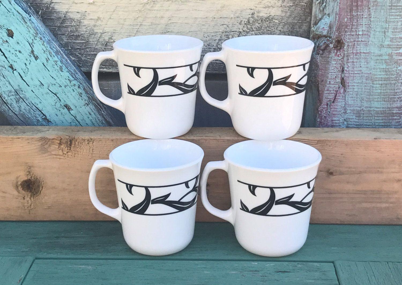 10oz 4pc Set Vintage Corning Lyrics Coffee Mugs White Black Modern Design D Handle Tea Cups Coffee Mug 10 Oz Mugs Cup Teacups Teacup Mugs Tea Cups Mug Cup