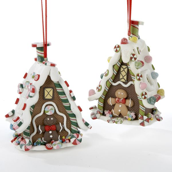 J3563 3-D GINGERBREAD HOUSE ORNAMENT - 2 ASSORTED PEPPERMINT CANDY