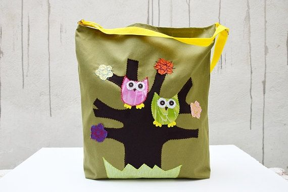 Canvas Tote Bag with Applique Owls. Green Bag. Laptop by Loutik, €30.00