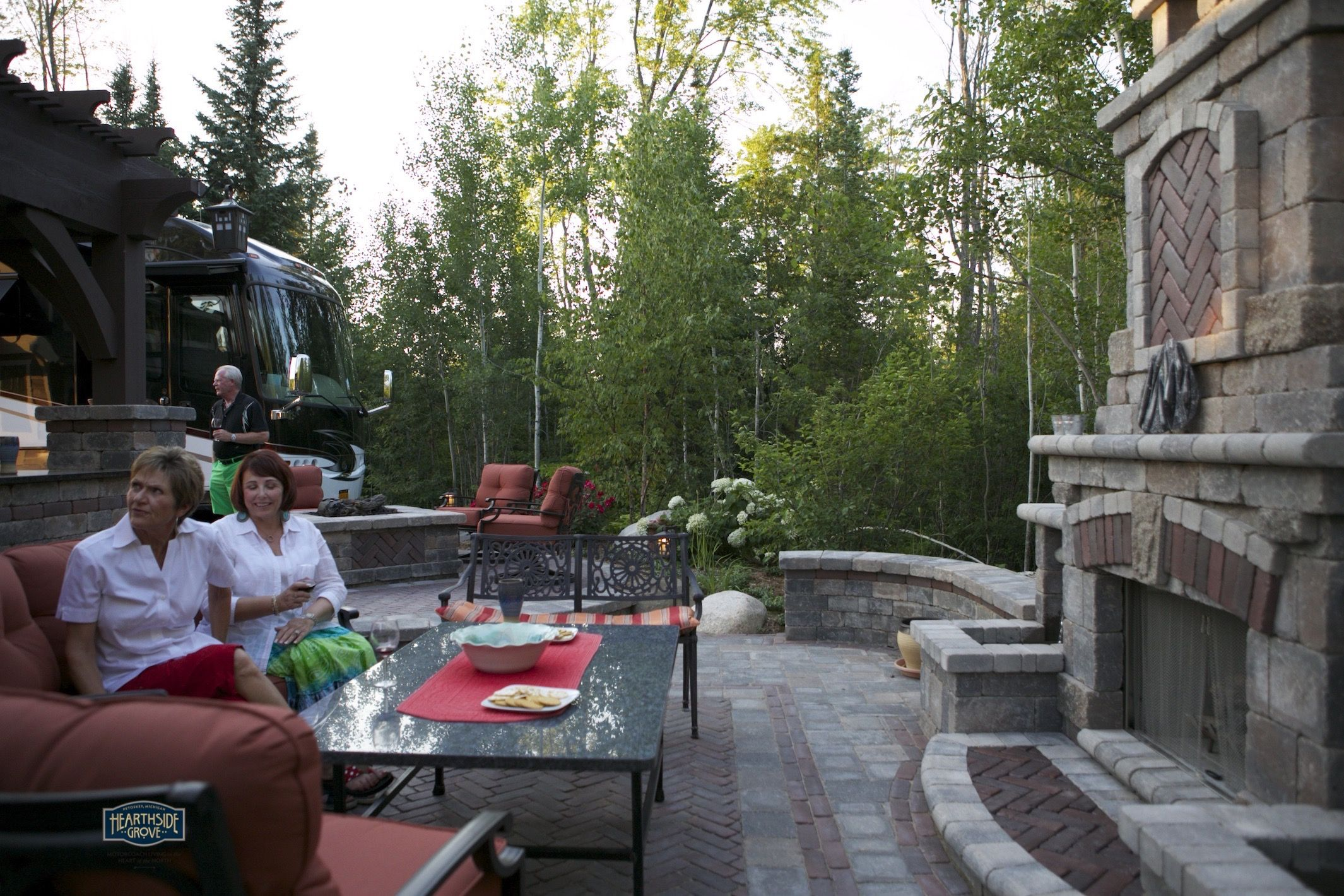 Awesome Hearthside Grove Luxury Motorcoach Resort Lot 78   #exterior #outdoor  #fireplace #patio