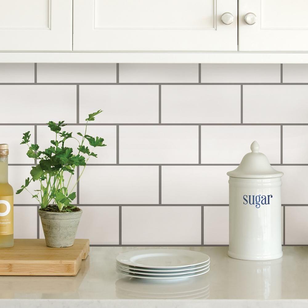 Wall Pops White Subway Peel Stick Backsplash Tiles Nh2363 Subway
