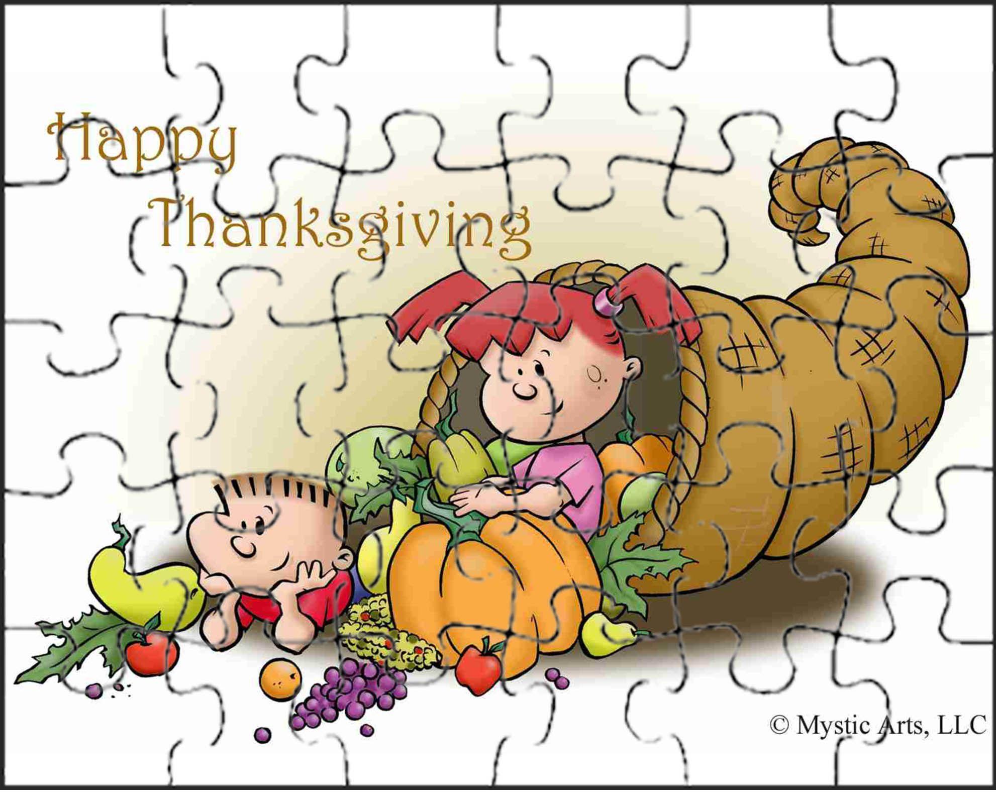 Printable Thanksgiving Craft Cornucopia Puzzle