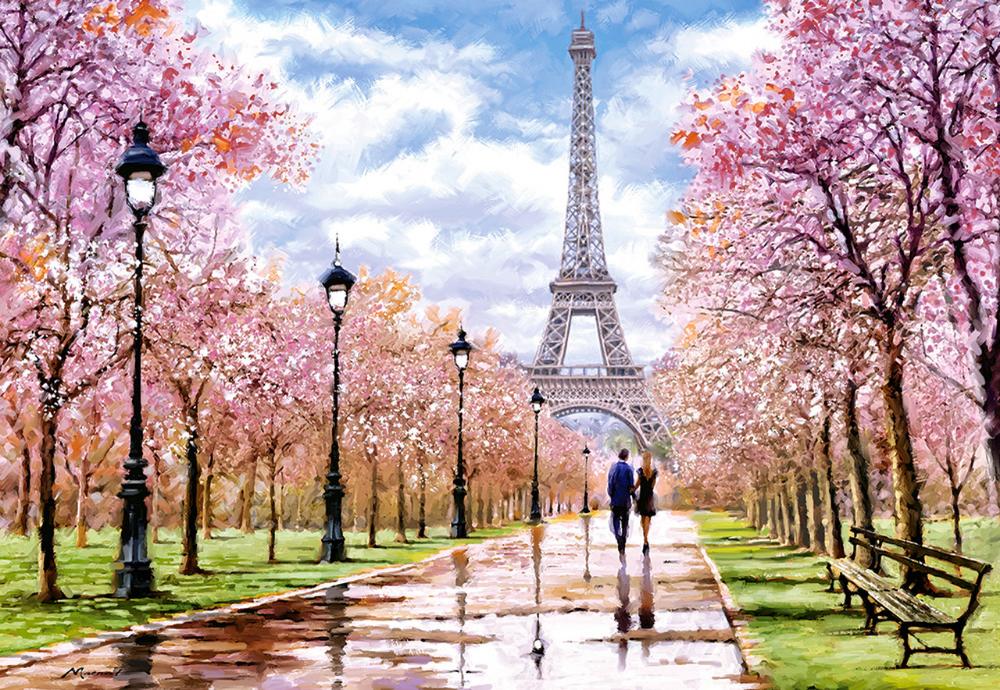 Romantic Walk In Paris 1000pc Jigsaw Puzzle By Castorland Eiffel Tower Painting Abstract Landscape Landscape
