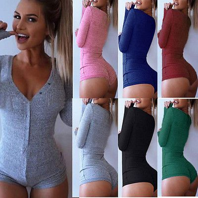 Women Ladies Knitted Plunge V Neck Bodycon Bodysuit Short Romper Leotard Tops