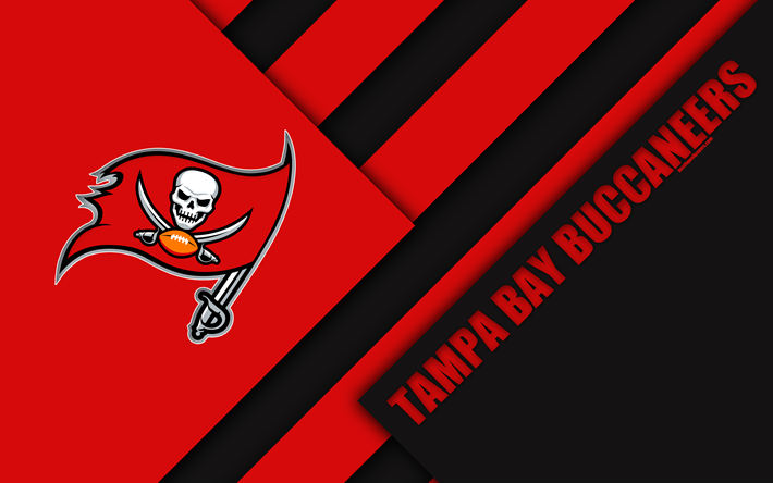 Download Wallpapers Tampa Bay Buccaneers 4K NFC South Logo NFL Red
