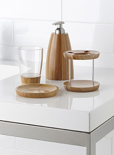 Umbra Canadian collection at Simons Maison. Recreate a spa feel at home  with these rounded, ultra minimalist natural bamboo accessories.