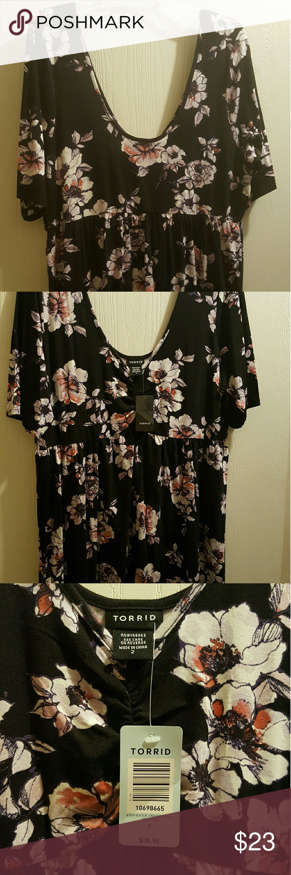 Baby doll top Black with white, pink and purple flowers torrid Tops