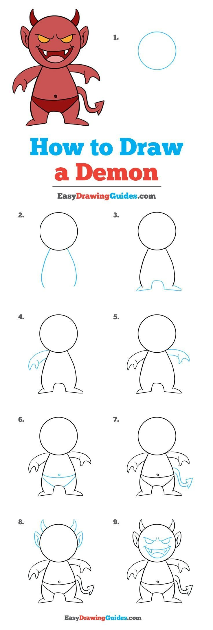 How To Draw A Demon - Really Easy Drawing Tutorial
