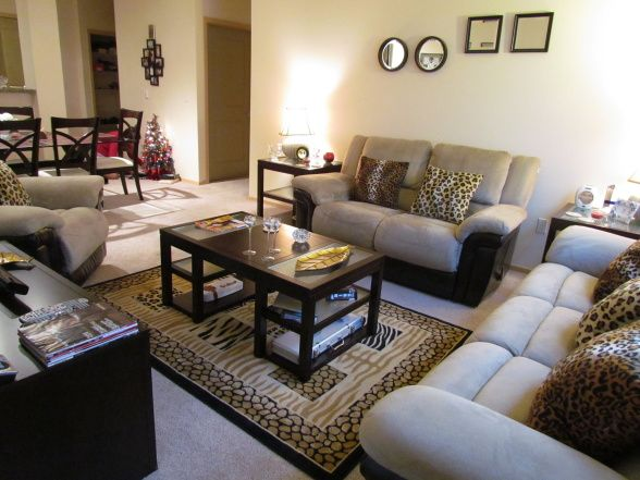 Living room accented with cheetah print throw pillows and rug