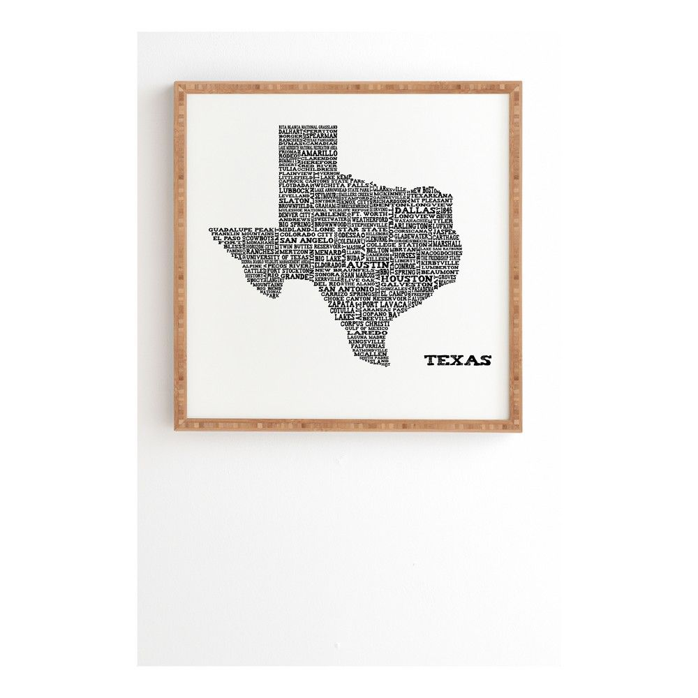 Restudio Designs Texas Map Framed Wall Art 12 X 12 Deny Designs Adult Unisex White Black In 2020 Framed Maps Framed Wall Art Texas Home Decor
