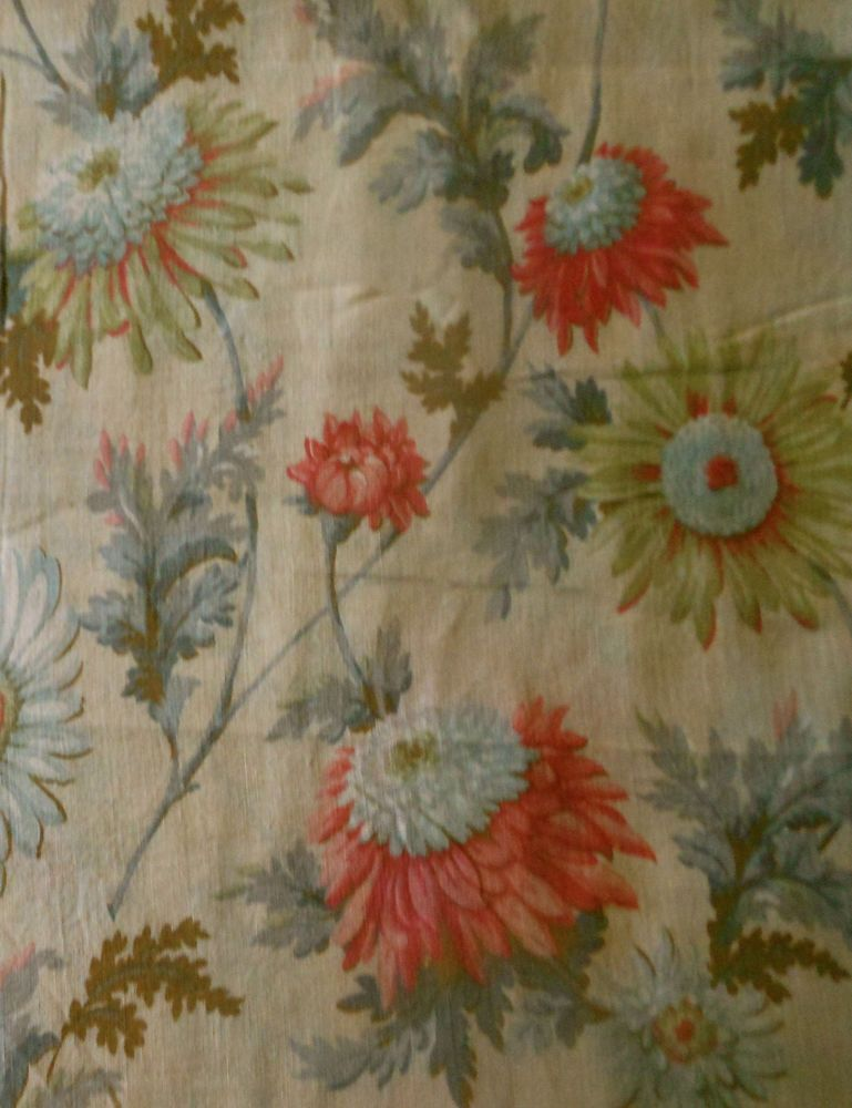 Antique Edwardian Botanical Daisy Mum Floral Cotton Fabric Coral Pink Green Antique Fabrics Fabric French Antiques