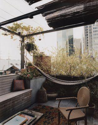 City balcony with a hammock