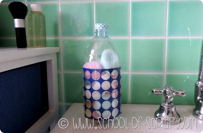 Creative recycling: cotton ball holder with bottles …