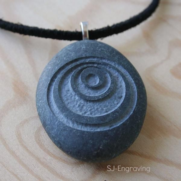 Photo of Crop Circle  – Tiny PebbleGlyph (c) Pendent with Cord – Engraved stone necklace
