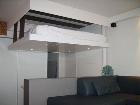Liftbed Bedup 2 Space Saving Beds Stored On Ceilings Ceiling Bed Space Saving Beds Modern Apartment Living Room