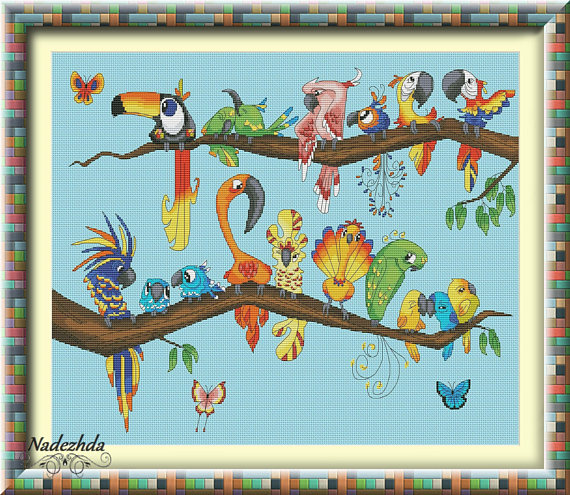 Tropical Paradise Birdies Cross Stitch Pattern Animal Pattern