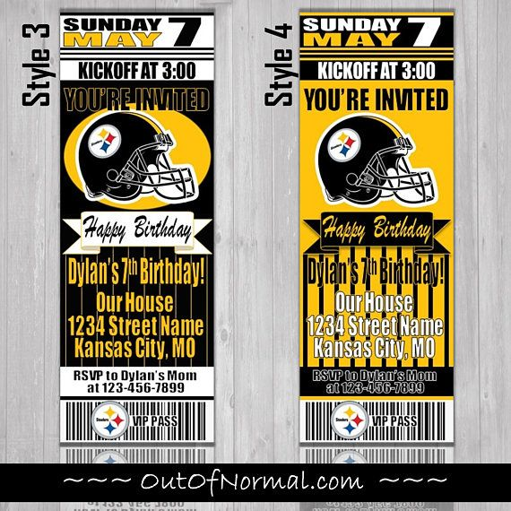 Pittsburgh Steelers Birthday Ticket Style Invite Custom Birthday