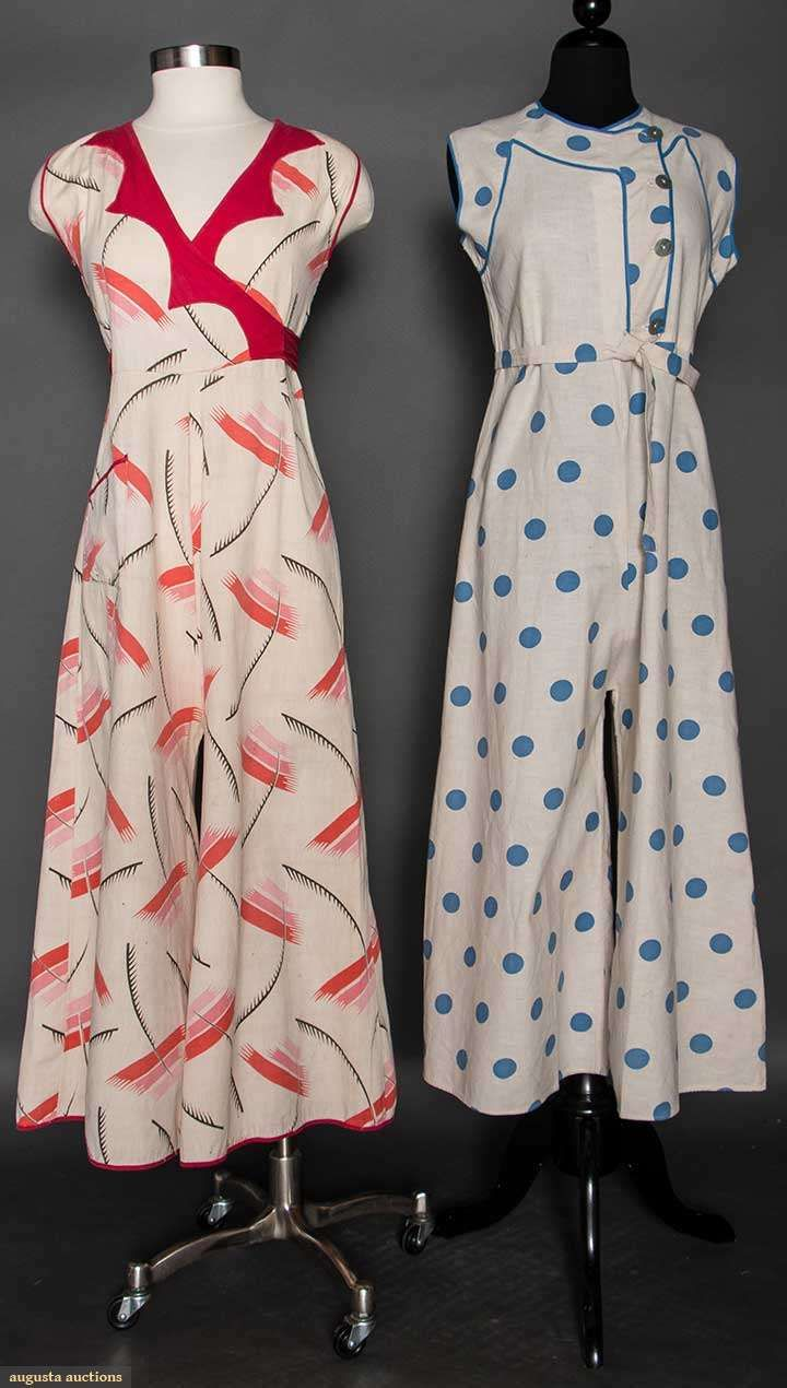 c13a3b7b4645a6 TWO LADIES' BEACH PAJAMA SETS, 1930s Both off white printed cotton,  1-piece, sleeveless & w/ wide legs & tie-belts: 1 blue dotted & 1 w/ pink,  red & black ...
