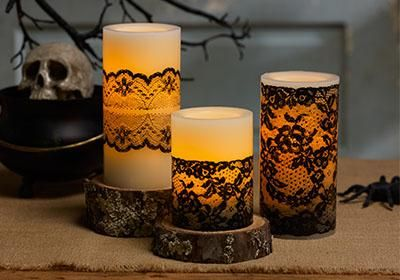 Elegant Black Lace Candles with Martha Stewart Crafts #diy #projects