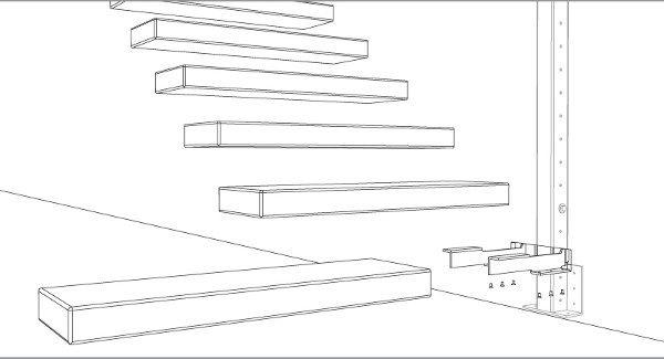 Escaleras prefabricadas en voladizo pinteres for Detalle escalera volada