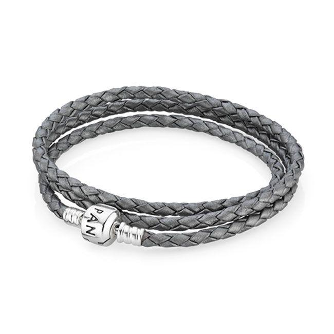 Pandora Grey Triple Braided Leather Bracelet | Pandora bracelet ...
