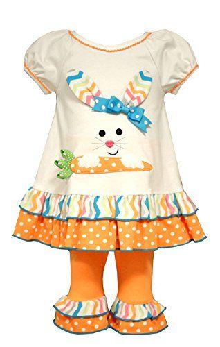 Bonnie Jean Little Girls Bunny Carrot Dot Legging Set 6 Adorable