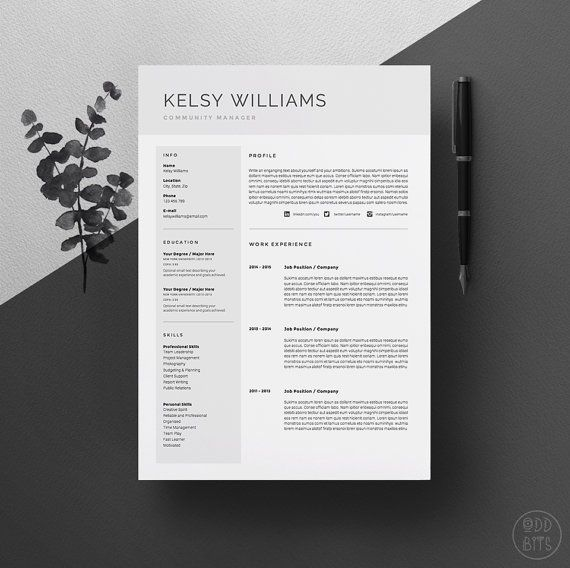 modern resume template for word 1  u0026 2 page cv by