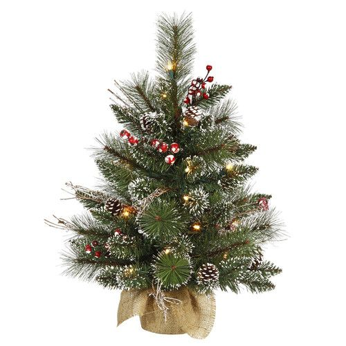 Found It At Wayfair 2 Snow Green Tipped Pine And Berry Artificial Christmas Flocked Artificial Christmas Trees Tabletop Christmas Tree Cool Christmas Trees