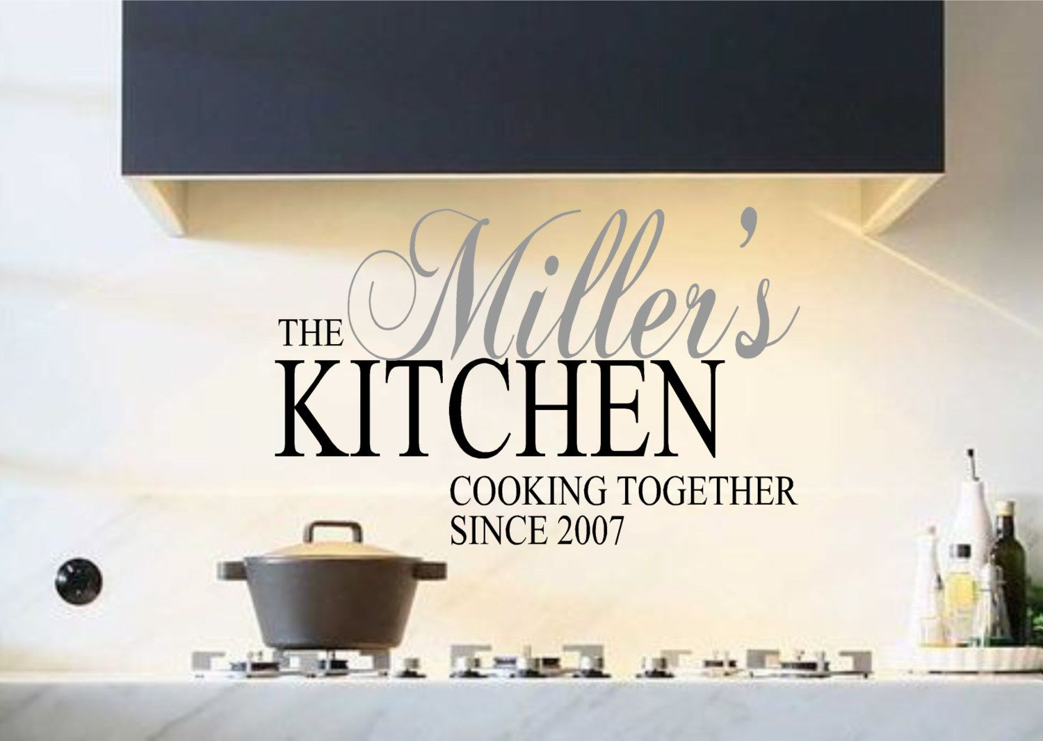 Kitchen Vinyl Wall Decal- Personalized Kitchen Cooking Together ...