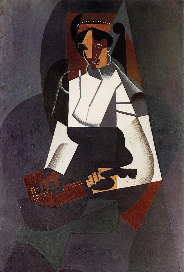 Juan Gris, Woman with a Mandolin (after Corot), 1916 *** after Corot, Dreamer with Mandolin, 1860–65