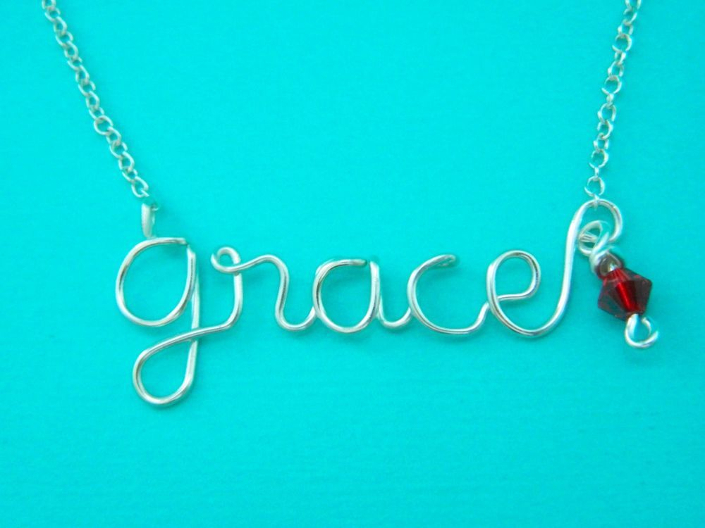 Personalized Silver Wire Name Necklace with Swarovski Crystal ...