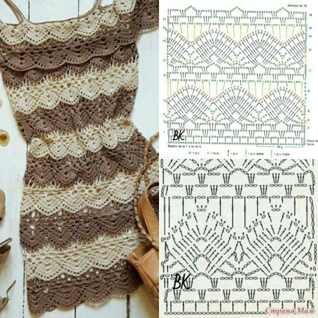 Платье крючком в рюшах | crochet | Pinterest | Vestiditos, Vestidos ...