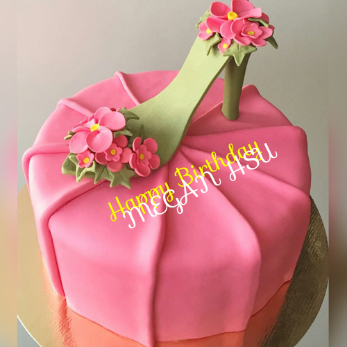 Fantastic High Heel Shoe Cake With Name For Dear Wife Birthday Cake For Funny Birthday Cards Online Kookostrdamsfinfo