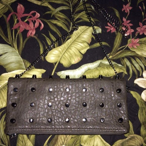 UE grey/brown handbag NWOT Quality studded folded handbag with chain. Pretty dark blue floral lining. Detachable chain is 45in. Urban Expressions Bags