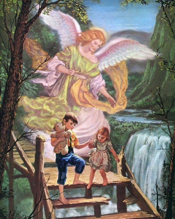 Guardian Angel 11 Catholic Picture Print Em 2020 Anjos