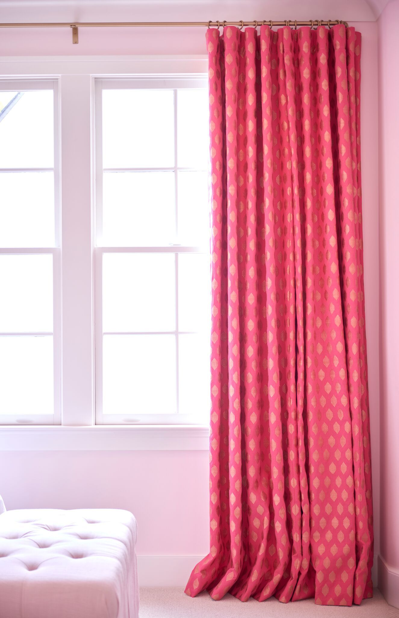 Custom Pink Patterned Drapes Ripplefold Draperies Pink Decor