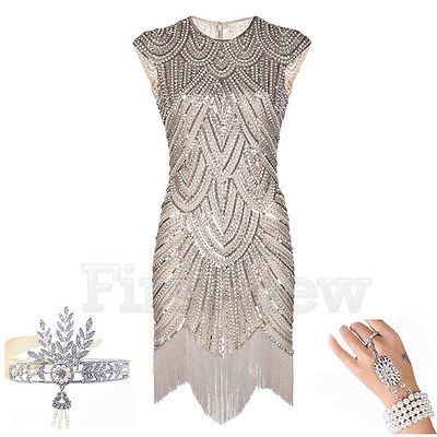 4c5c3a13f1957 1920's Flapper Dress Vintage Great Gatsby Charleston Sequin Tassel Party  Costume