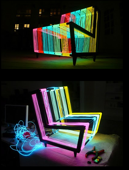 Glow in the dark maybe find a clear chair or table and use neon rope/