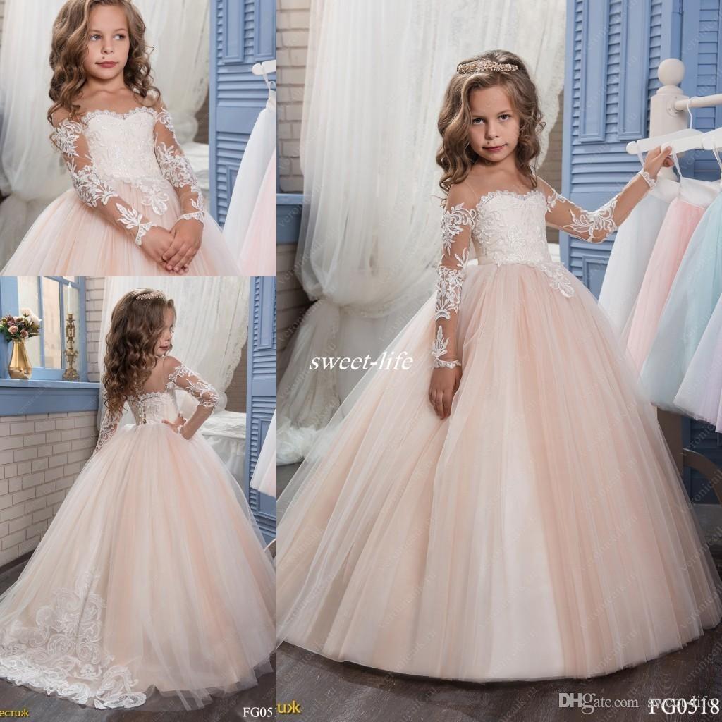 Princess Vintage Lace Beaded 2017 Flower Girl Dresses Long Sleeves