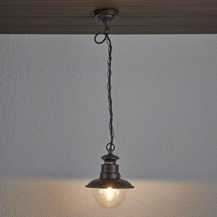 Industrial Round Hanging Lamp Rust Brown Eddie Lampandlight In 2020 Hanging Ceiling Lamps Pendant Light Rustic Chandelier