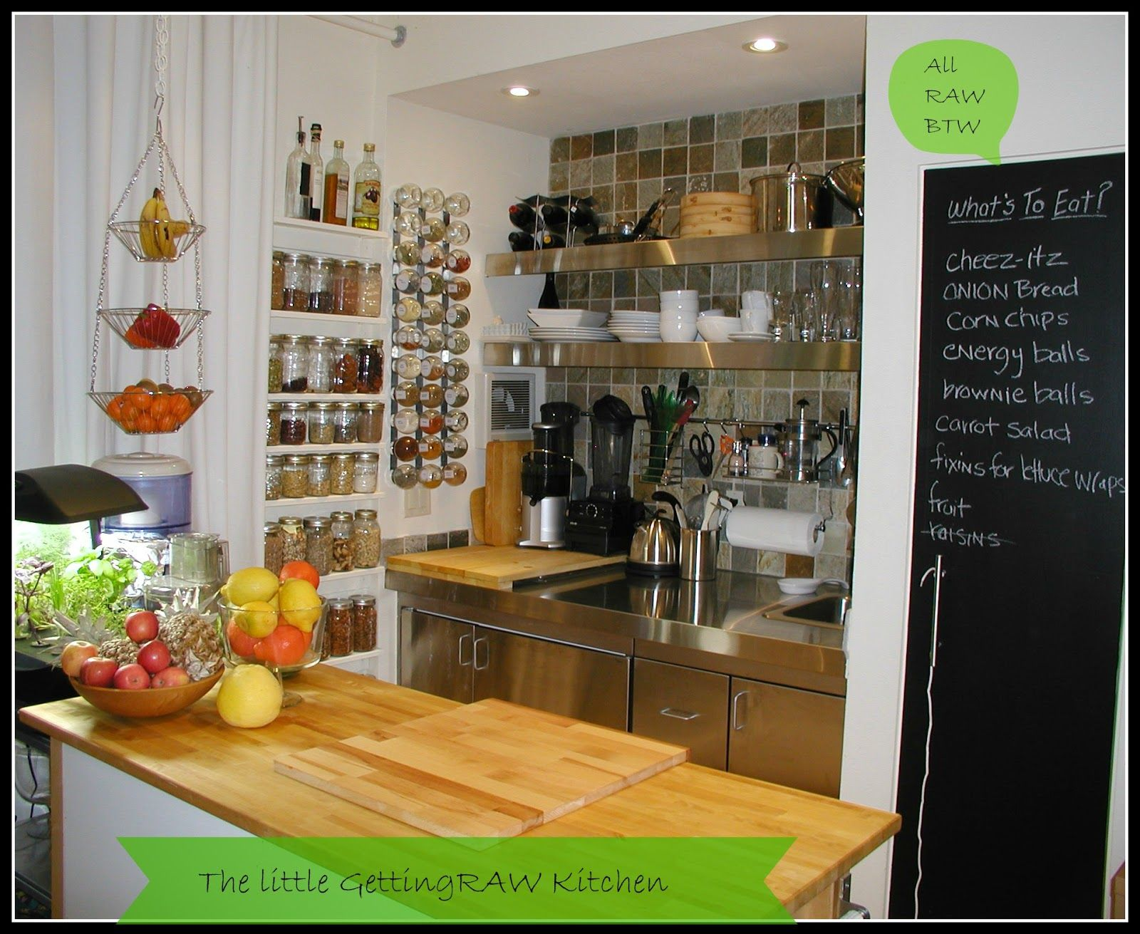 organized in a small kitchen: The Getting Raw Kitchen