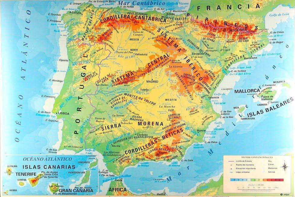 Mapa Fisico De España.Mapa Fisico De Espana Mapa Fisico De Espana Mapa Fisico Y