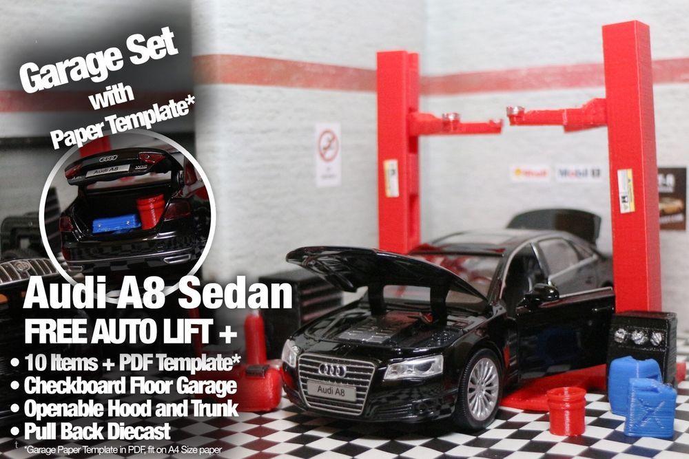 Audi A8 Diecast Model 132Diorama Garage Accessory setAuto Lift