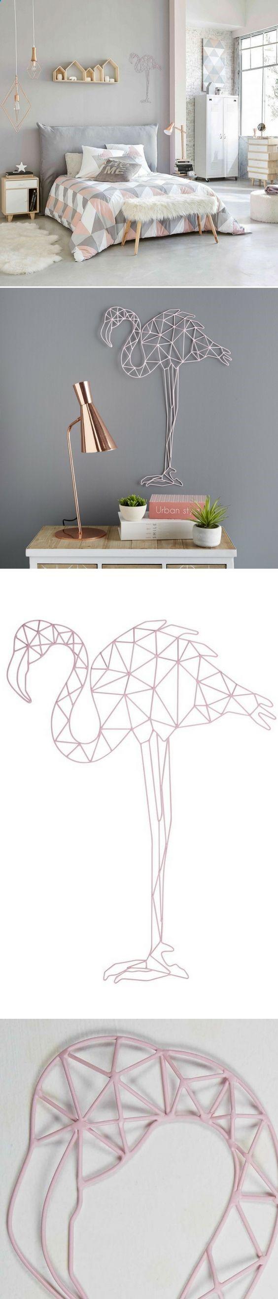d co murale flamant rose en fil de m tal erika maisons du monde dormitorios. Black Bedroom Furniture Sets. Home Design Ideas