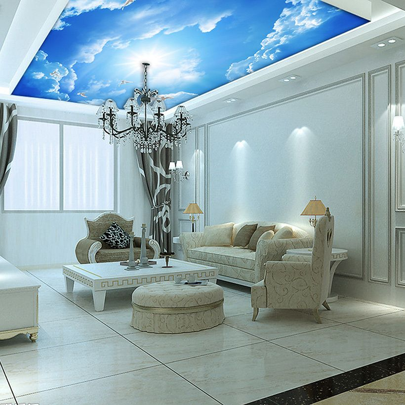 Buy custom murals 3d blue sky ceiling for Ceiling mural wallpaper
